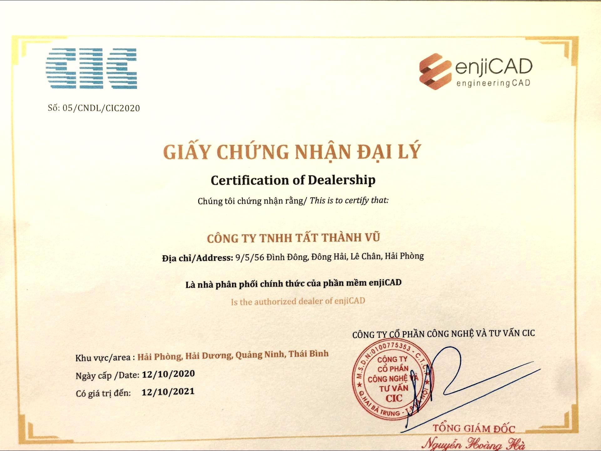Chung nhan dai ly CIC